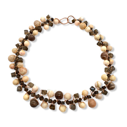 signature gemstone collar necklace with moonstone, smoky quartz, pink opal and copper wire