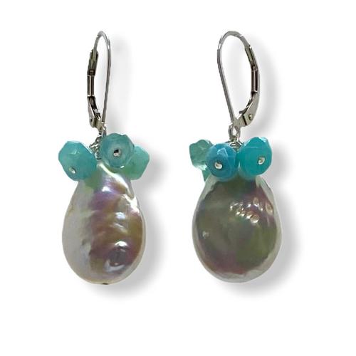 Sundrop pearl earrings in blue Peruvian opals
