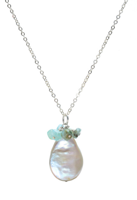 Sun Teardrop Baroque Pearl and Gemstone Cluster Necklace in Sterling Silver