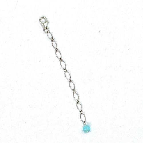 Radiant Sterling Silver Chain Extender with Peruvian opal gemstone