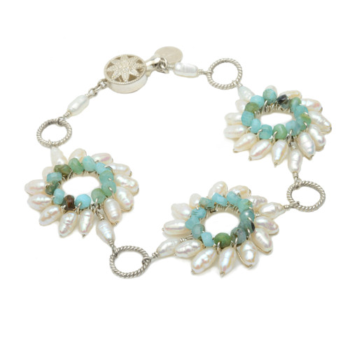 Sunburst Trio Gemstone and Pearl Bracelet in Sterling Silver