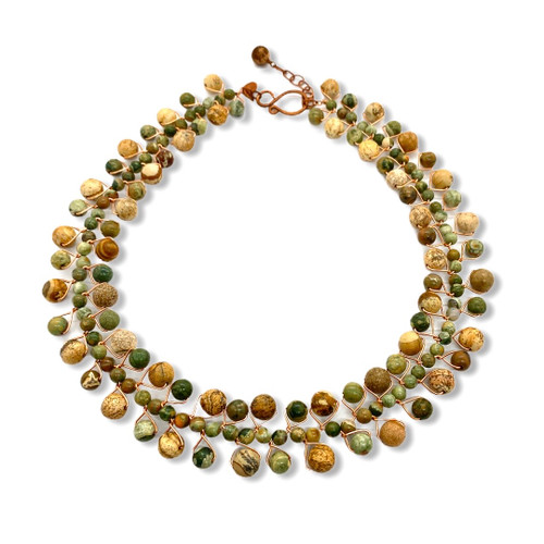 green gemstone and picture jasper collar necklace