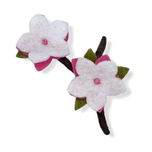 Duet cherry bloosom felt flower pin