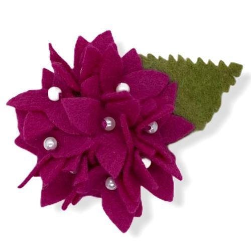 Deep pink hydrangea felt flower pin