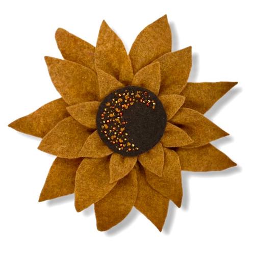 Sunflower felt brooch handmade in the Usa