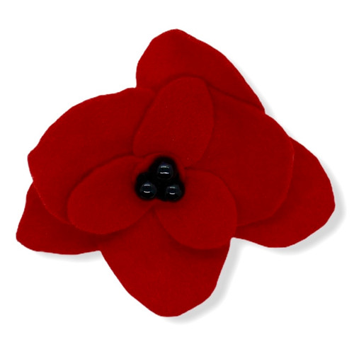 Handmade big red poppie felt flower pin