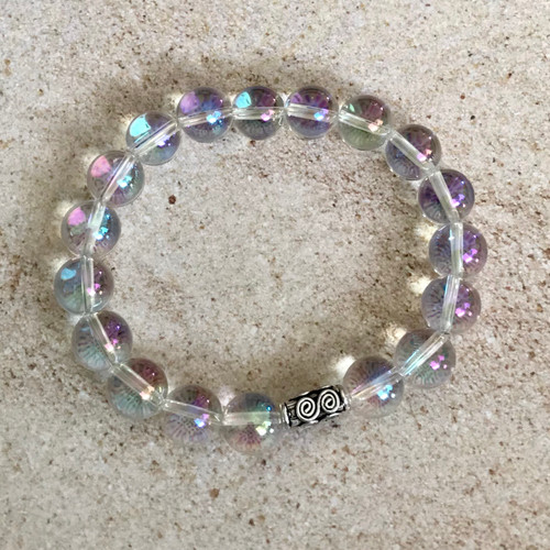 Rock Crystal Quartz with AB finish and  Sterling Silver Stretch Bracelet