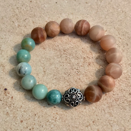 Amazonite, Peach Moonstone & Sterling Silver Stretch Bracelet