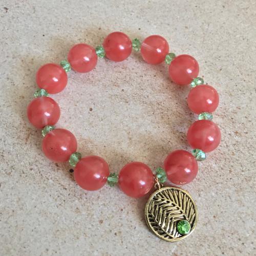 Great Palm Crystal and Strawberry Glass Stretch Bracelet