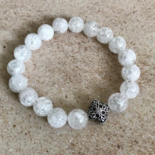 Snowflake & sterling silver stretch bracelet