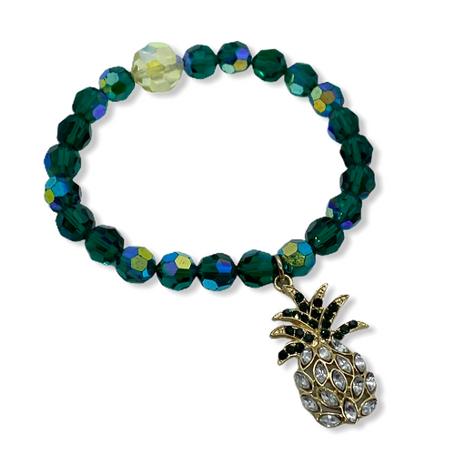 Vintage Pineapple  and Crystal Stretch Bracelet