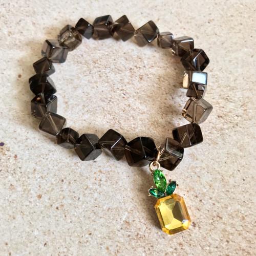 Pineapple Charm Smoky Quartz Stretch Bracelet