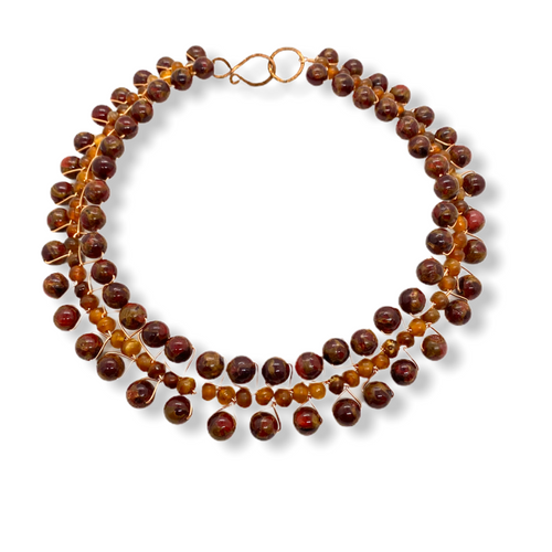 Handmade in America signature collar necklace with quartz and resin