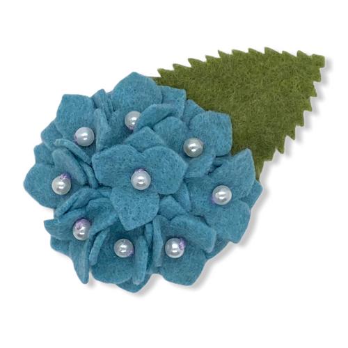Blue hydrangea felt flower brooch or hair clip