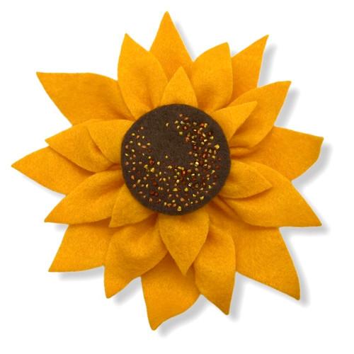 Sunflower felt flower brooch