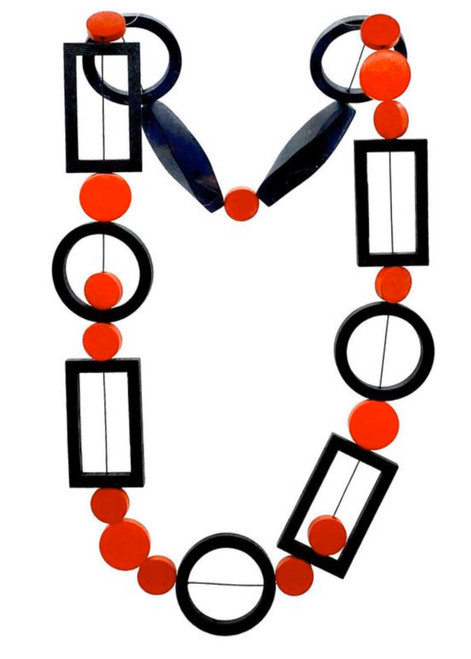 Geometric painted wood necklace