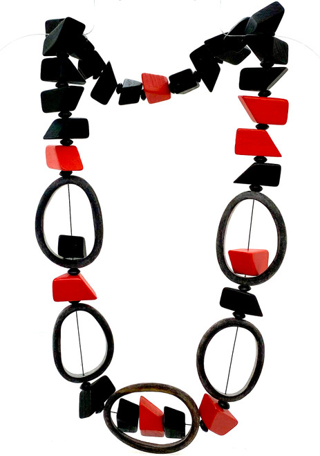 Five buffalo horn and painted wood necklace