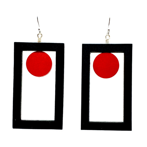 Rectangle and red dot wood earrings