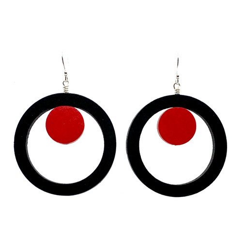 Circle and red dot wood earrings