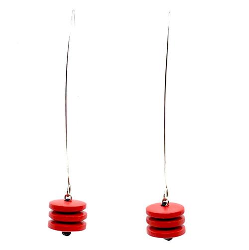 Long wood & sterling silver dangling earrings