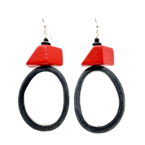 On the block red wood and buffalo horn earrings