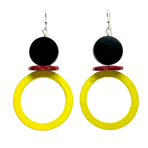 Cirque du dijon and rouge wood earrings
