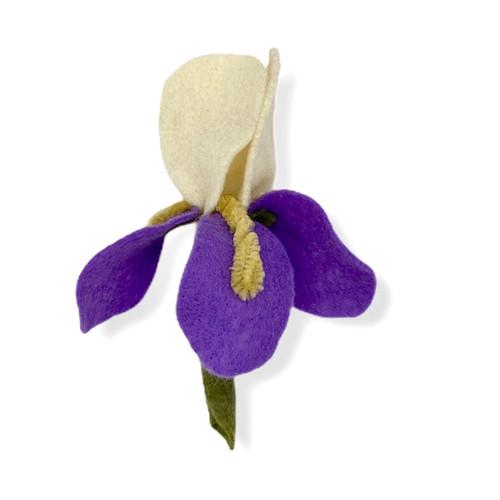 Handmade Iris felt flower pin