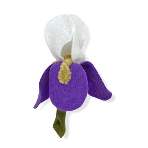 Handmade white and lavender iris felt flower pin