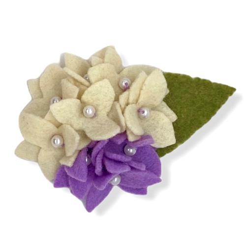 Cream and lavender hydrangea felt flower brooch