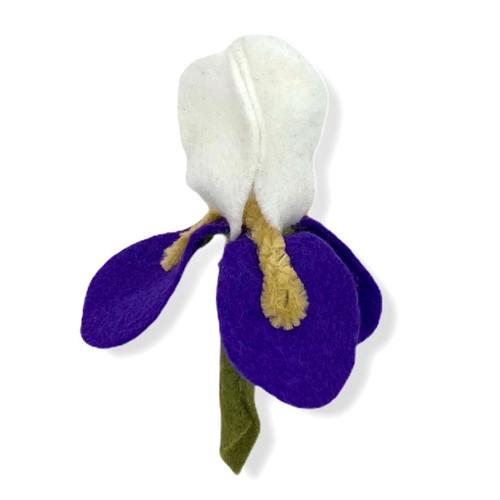 Handmade white and purple iris felt flower pin