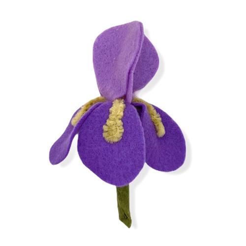 Two tone lavender iris felt flower brooch or hair clip