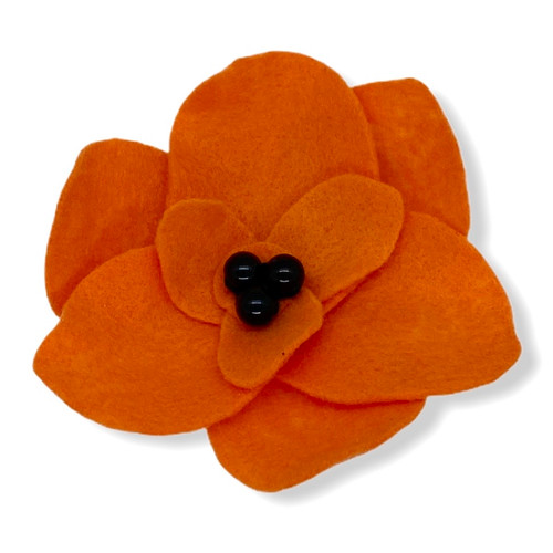 Handmade big orange poppie felt flower pin