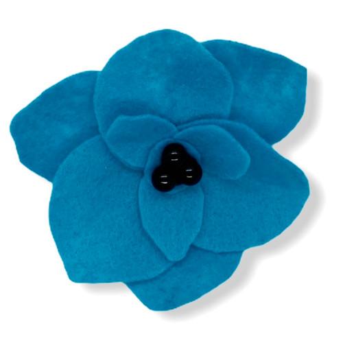 Handmade big blue poppie felt flower pin back