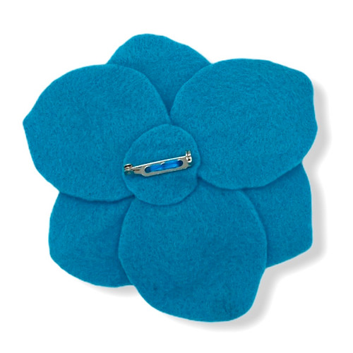 Handmade big blue poppie felt flower pin back