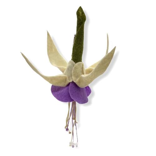 Handmade lavender and cream fuchsia felt flower brooch