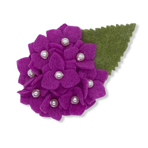 Bright Violet Hydrangea Felt Flower Brooch
