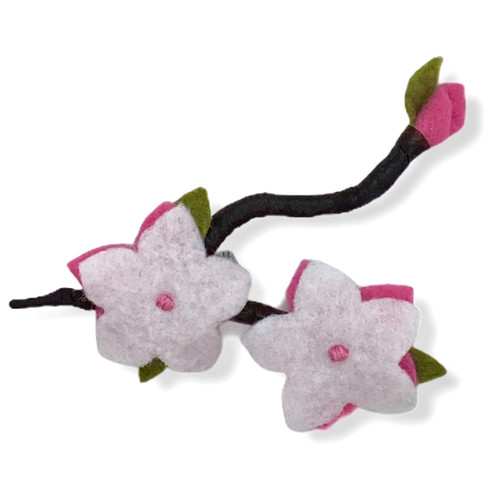 Cherry Blossom Duet with bud felt flower pin