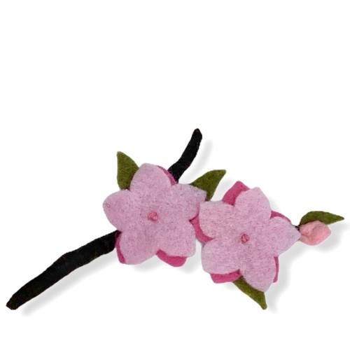 Pink cherry bloosom duet with bud felt flower brooch