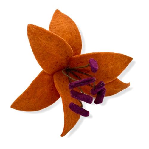 lily felt flower hair clip back