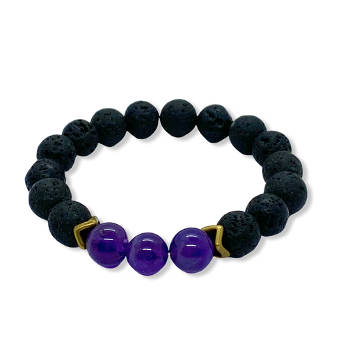 Crown Chakra Amethyst Antique Brass Stretch Bracelet