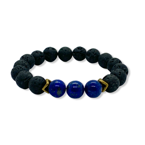 Third Eye Charka Sodalite Antique Brass Stretch Bracelet