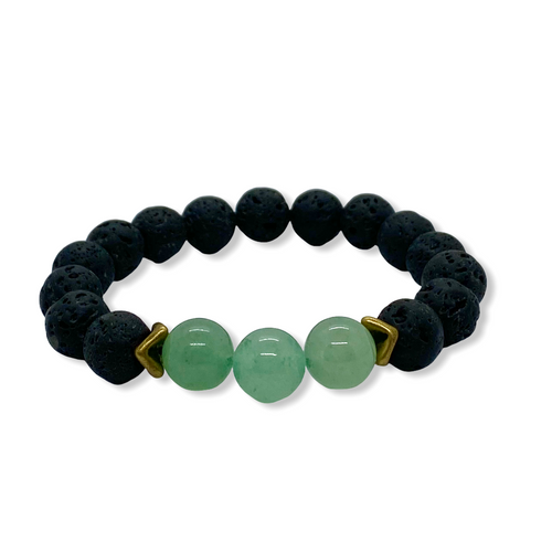 Heart Chakra Aventurine Antique Brass Stretch Bracelet