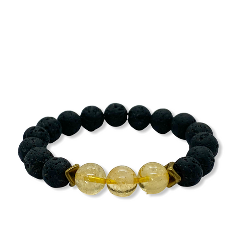 Solar Plexus Chakra Citrine Antique Brass Stretch Bracelet