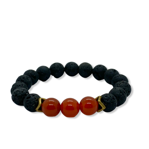 Sacral Chakra Carnelian Antique Brass Stretch Bracelet
