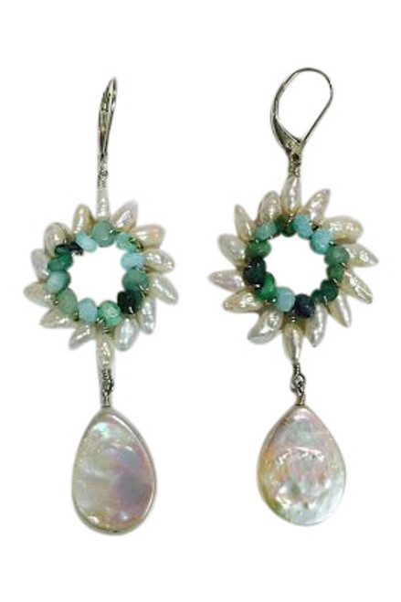 Sunburst pearl drop earrings in blue Peruvian opals