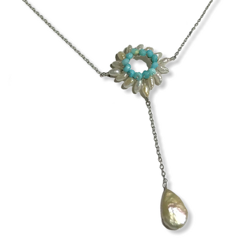 Sunburst Y Necklace in Blue Peruvian Opal