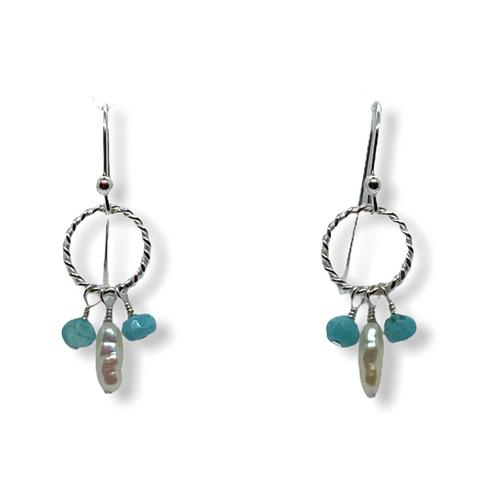 Halo earrings in blue Peruvian opals