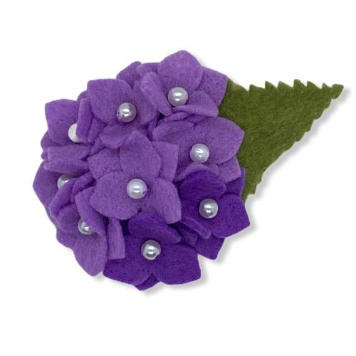 Eco-friendly lavender hydrangea felt flower brooch
