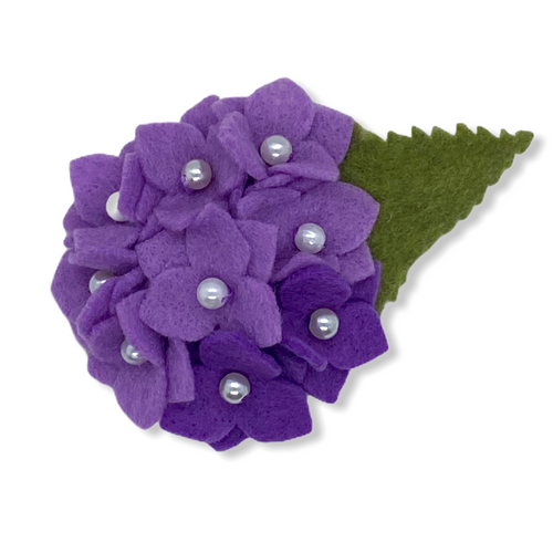 Eco-friendly lavender hydrangea felt flower brooch