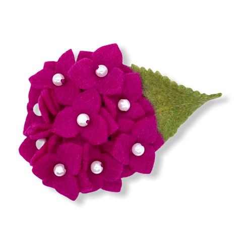 Eco-friendly deep pink hydrangea felt flower brooch